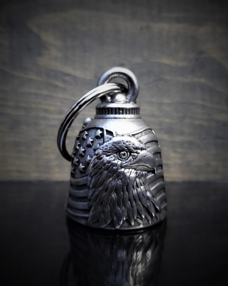 Eagle With USA Flag - Pewter - Motorcycle Ride Bell - Made In USA - SKU BB23-DS