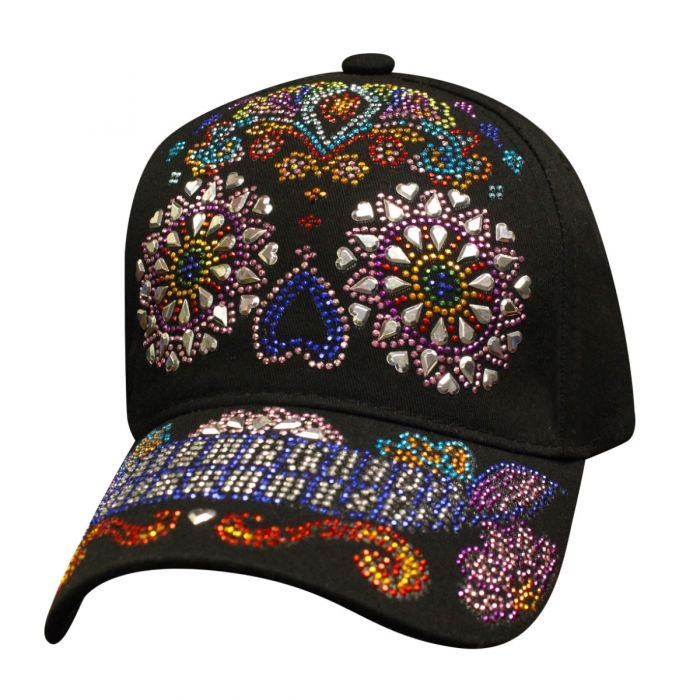 Bling Sugar Skull - Colorful - Baseball Cap - SKU SBLSUSK-DS