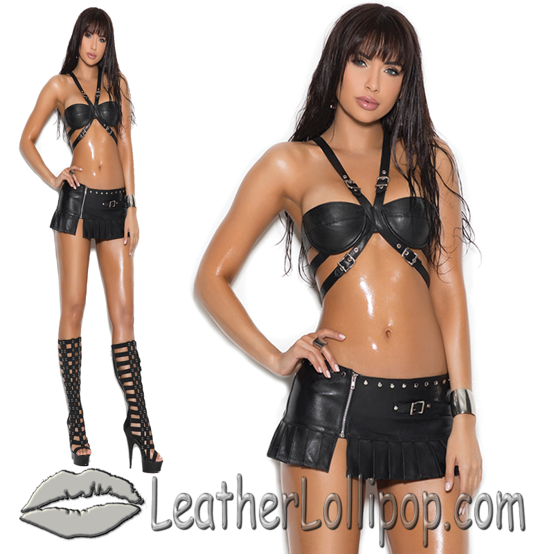 Ladies Buckle Underwire Leather Bra With Pleated Zip Front Mini Skirt - L1950-L6150-EML