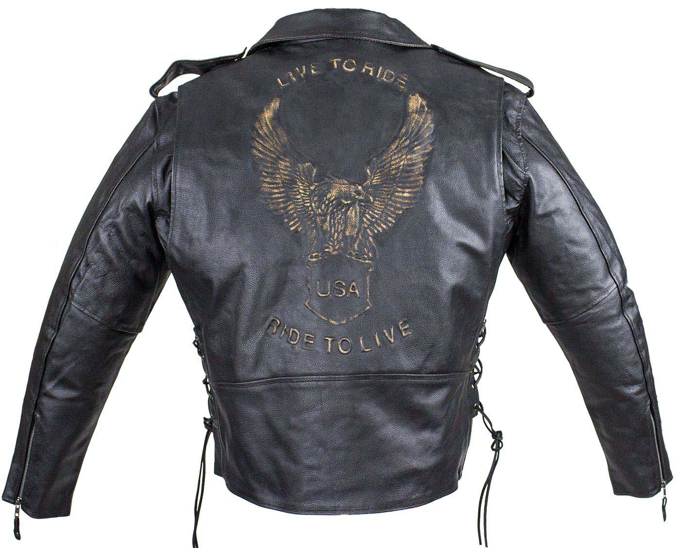 Classic Style Motorcycle Jacket with Side Laces and Live To Ride - SKU MJ703-SS-DL