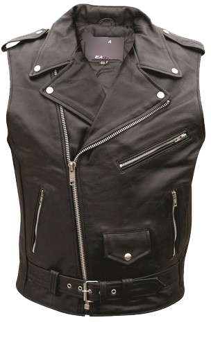 Men's Classic Style Sleeveless Motorcycle Jacket - SKU AL2012-AL