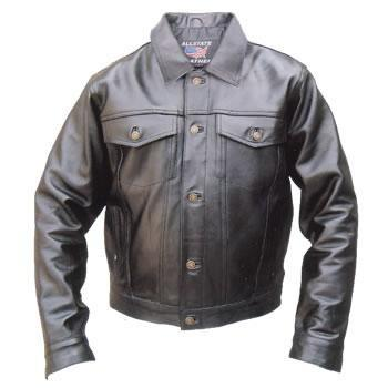 Denim Style Black Leather Biker Jacket  - SKU AL2013-AL