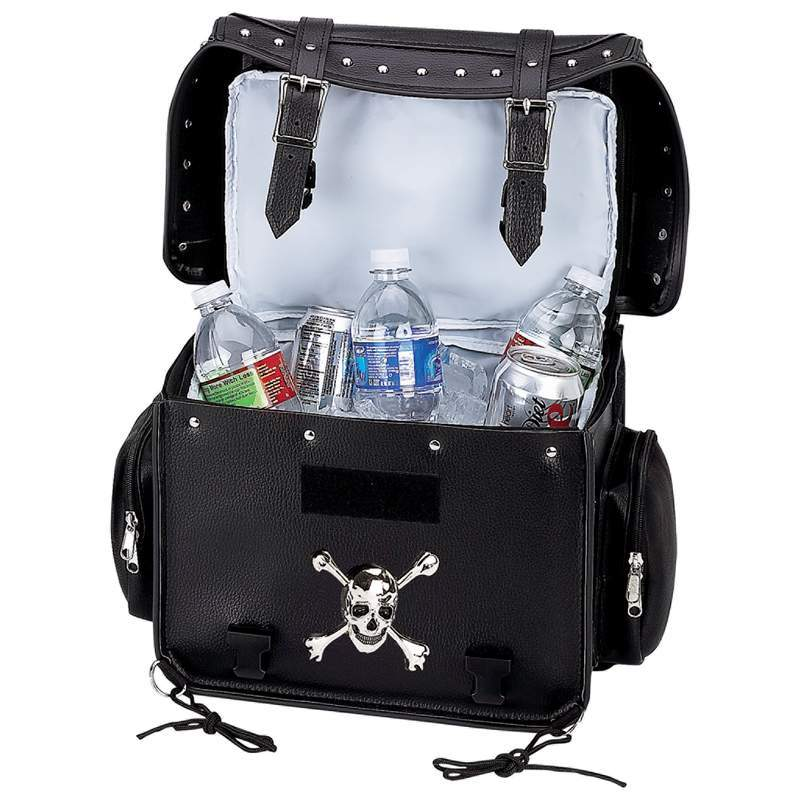 Diamond Plate Motorcycle Trunk Cooler Bag with Skull - SKU LUMCOOL-BN
