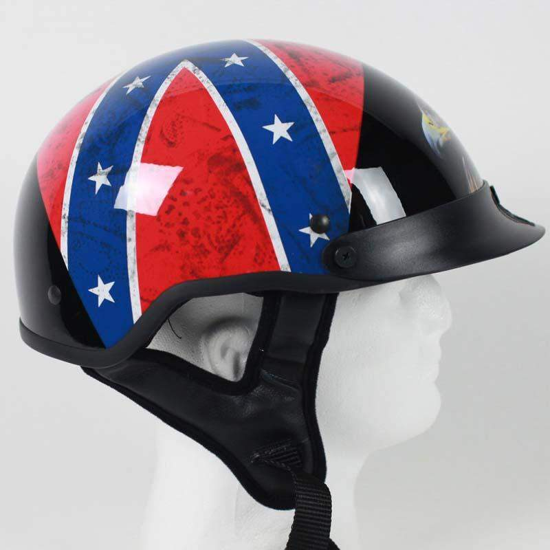 DOT Rebel Flag and Eagle Motorcycle Shorty Helmet - SKU 1RF-HI