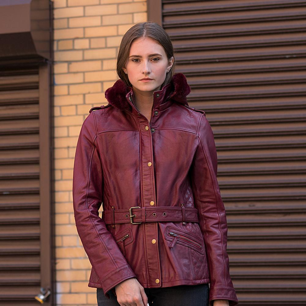 Elle - Women's Leather Jacket With Fur Collar and Hood - WBL1053