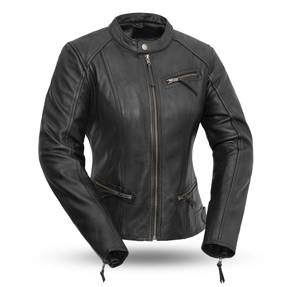 Fashionista - Women's Motorcycle Leather Jacket - FIM108CCBZ