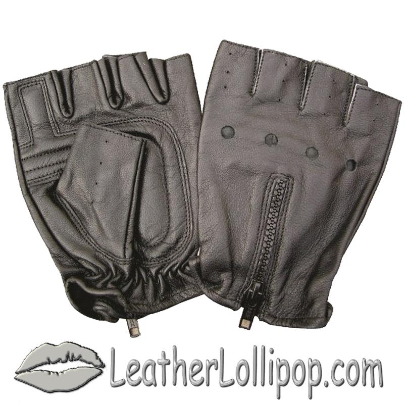 Fingerless Leather Biker Gloves With Zipper Back - SKU AL3006-AL