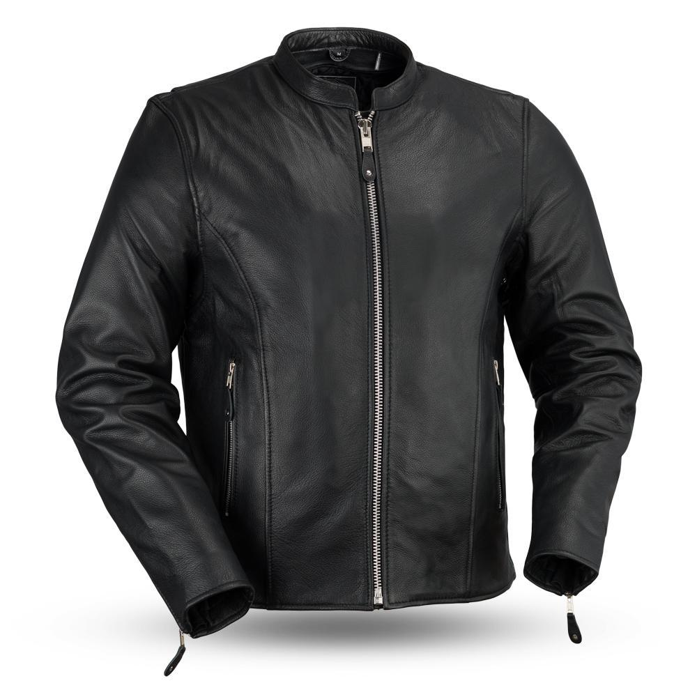 Ace - Clean Cafe Style Men's Motorcycle Leather Jacket - FMM202FBZ-FM