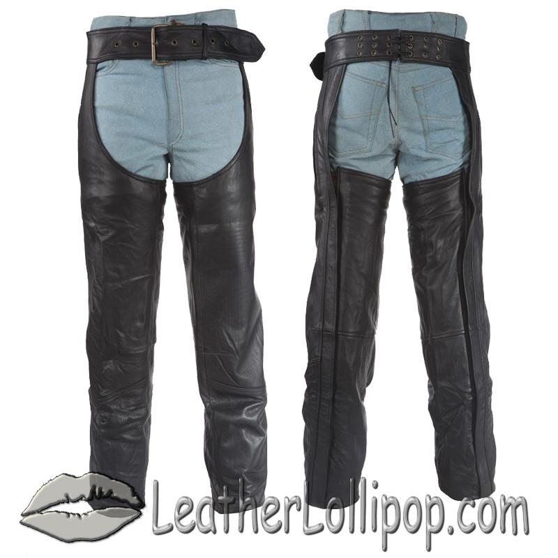 Heavy Duty Motorcycle Leather Assless Chaps With Zipper Pocket for Men or Women - SKU C3000-DL