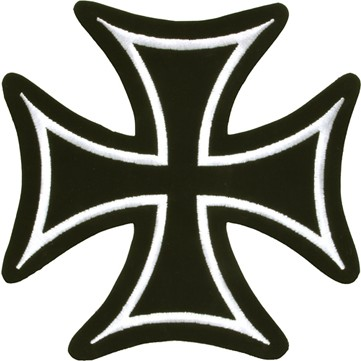 Iron Cross With White Border Patch - SKU PAT-B125-DL