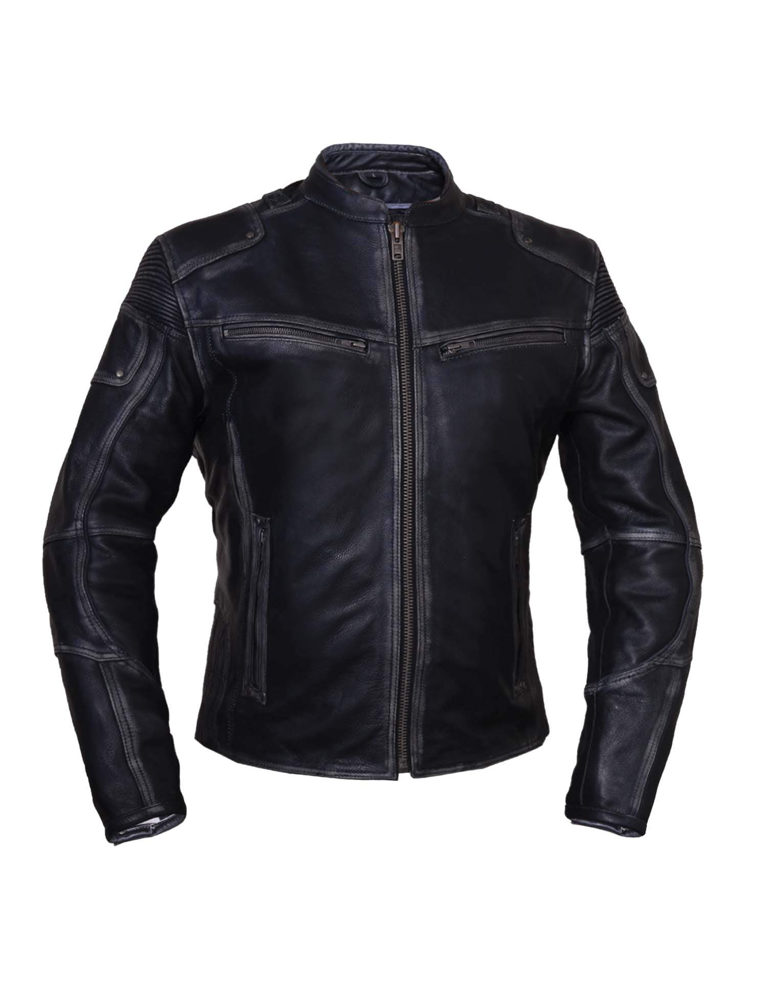 Ladies Black With Dark Gray Trim Durango Leather Jacket with Concealed Carry Pockets - SKU 6833-RF-UN