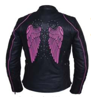 Ladies Black With Pink Trim Leather Jacket with Tribal Angel Wings and Studs - SKU 6824.24-UN