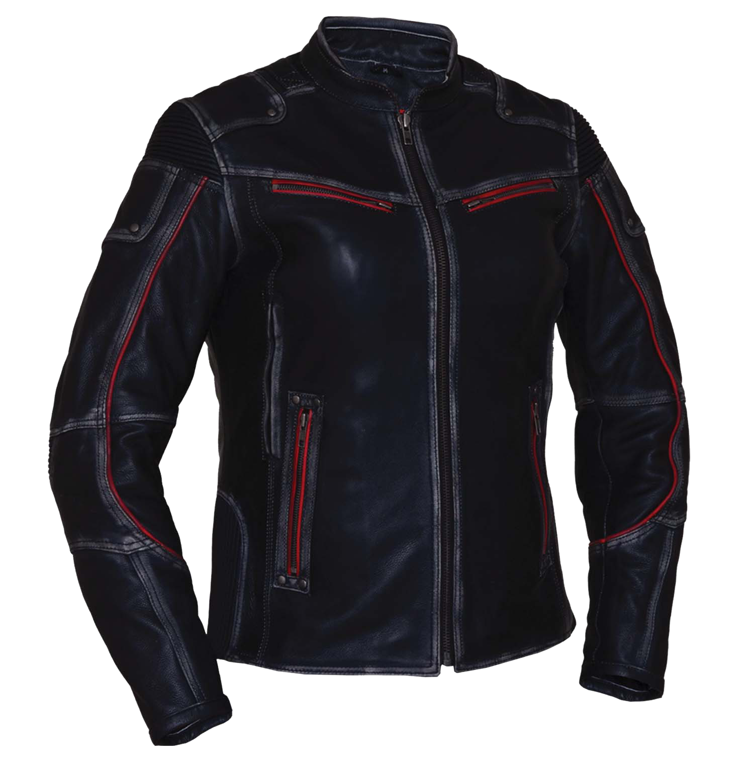 Ladies Black With Red Trim Durango Leather Jacket with Concealed Carry Pockets - SKU 6833-01-UN