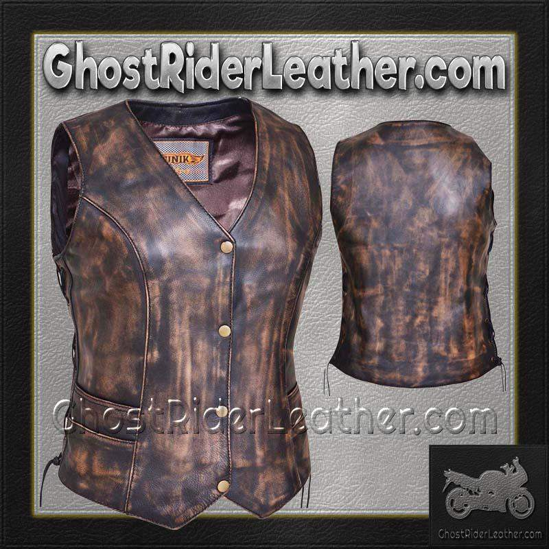 Ladies Concealed Carry Nevada Brown Naked Leather Vest - SKU 2659.ABR-UN