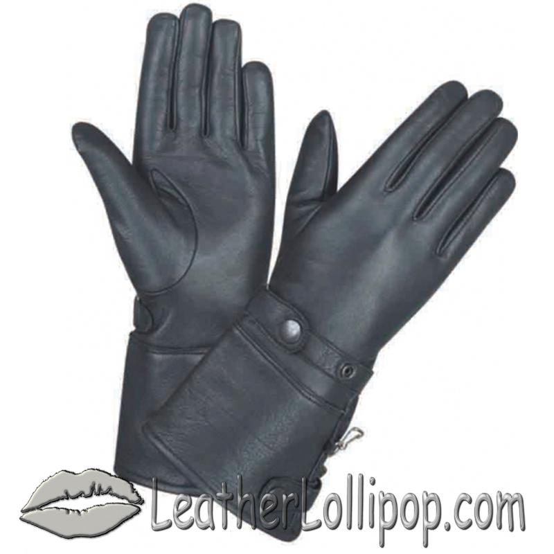 Ladies Full Finger Leather Gauntlet Motorcycle Riding Gloves - SKU 1491.00-UN