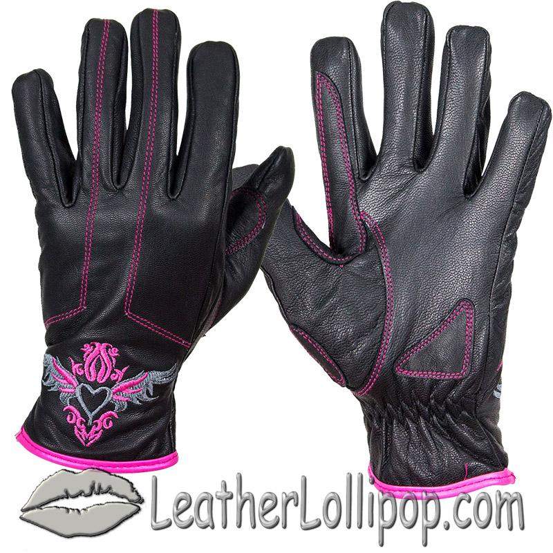 Ladies Full Finger Leather Motorcycle Riding Gloves With Heart and Pink Stitching - SKU GLZ106-EBL1-PINK-DL