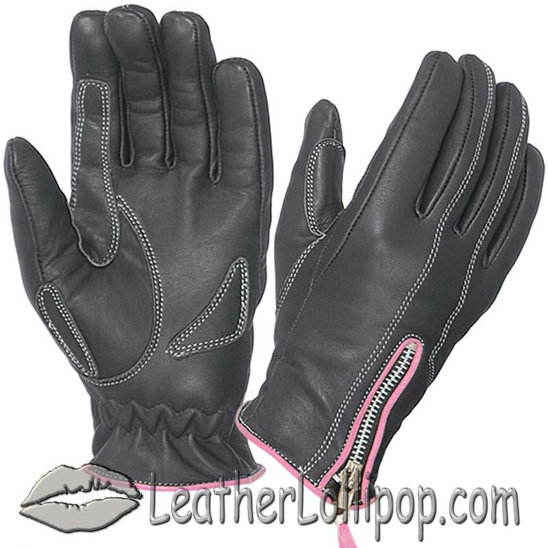 Ladies Full Finger Leather Motorcycle Riding Gloves With Hot Pink Piping - SKU 8261.24-UN