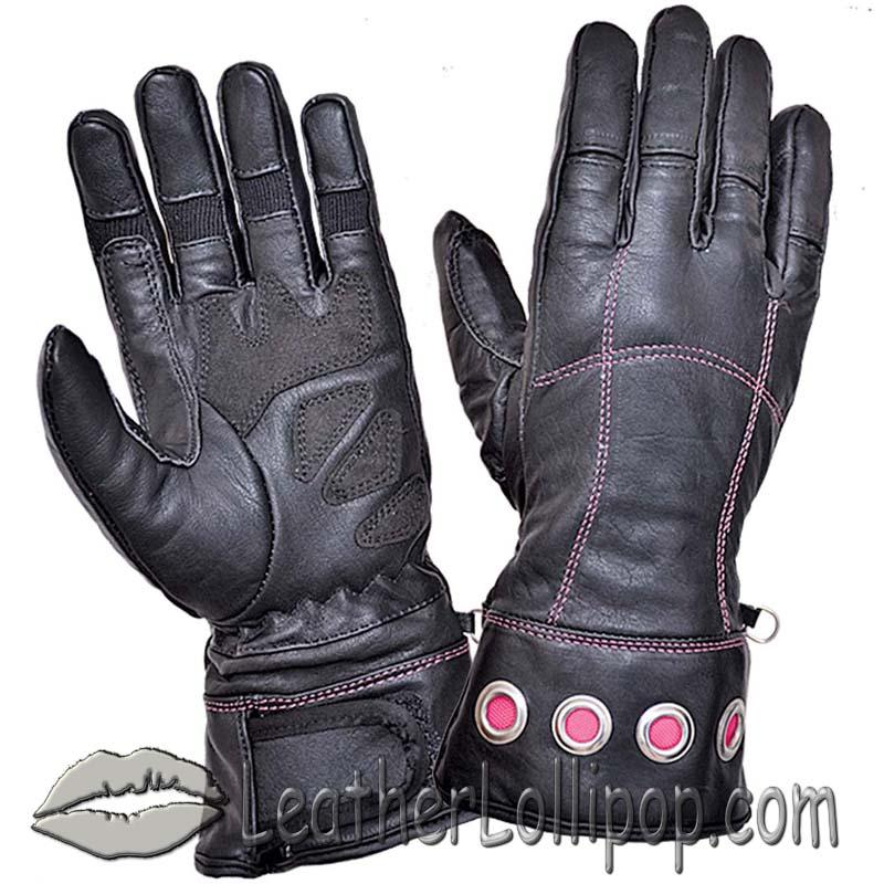 Ladies Full Finger Leather Motorcycle Riding Gloves With Hot Pink Stitching - SKU 8332.24-UN