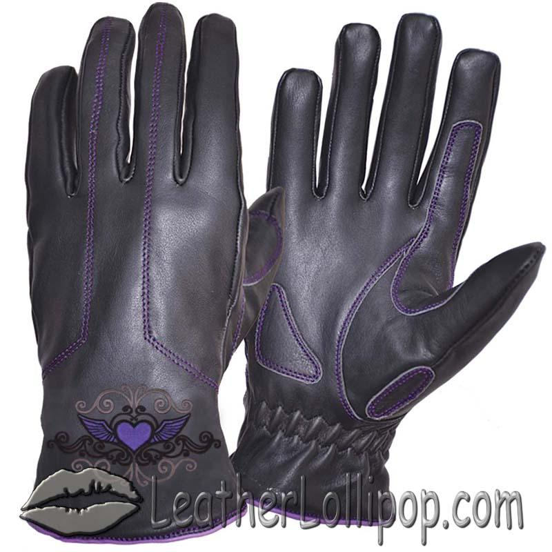 Ladies Full Finger Leather Motorcycle Riding Gloves With Purple Stitching - SKU 8144.17-UN