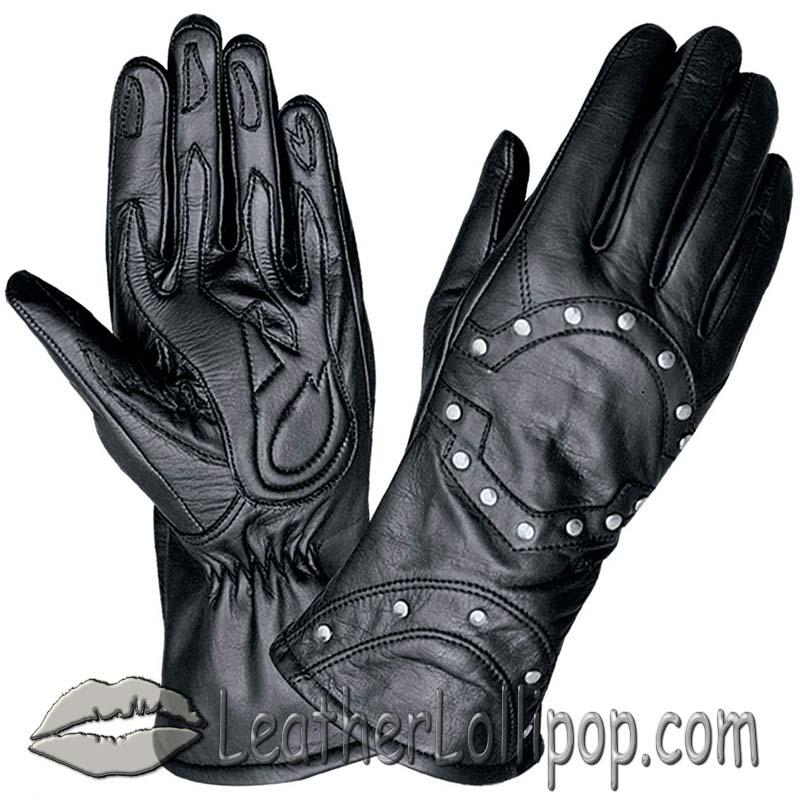 Ladies Full Finger Leather Motorcycle Riding Gloves With Studs - SKU 1444.00-UN