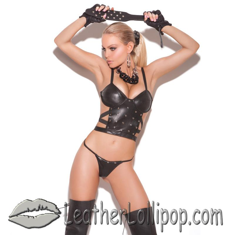 Ladies Leather Cami Top and G-String Set With Nail Heads - SKU L1925-EML