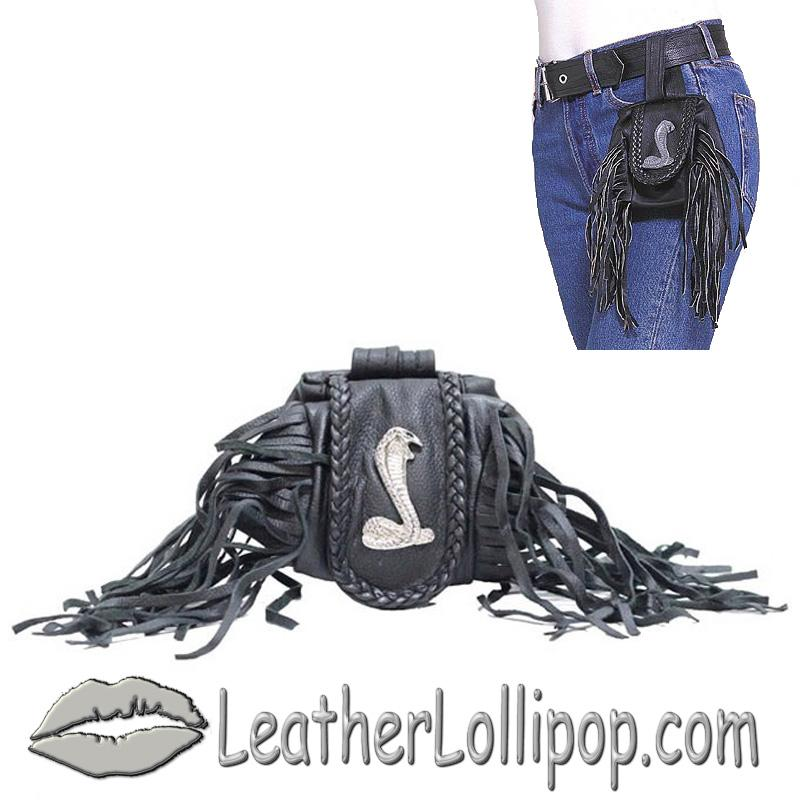 Ladies Leather Cobra Folding Pouch With Fringe - Belt Bag - SKU AC1007-DL