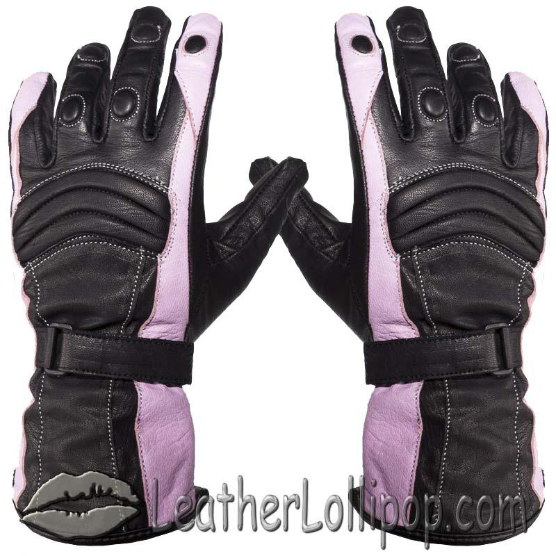 Ladies Leather Gauntlet Gloves in Pink and Black With Padded Knuckles - SKU GLZ60-PINK-DL