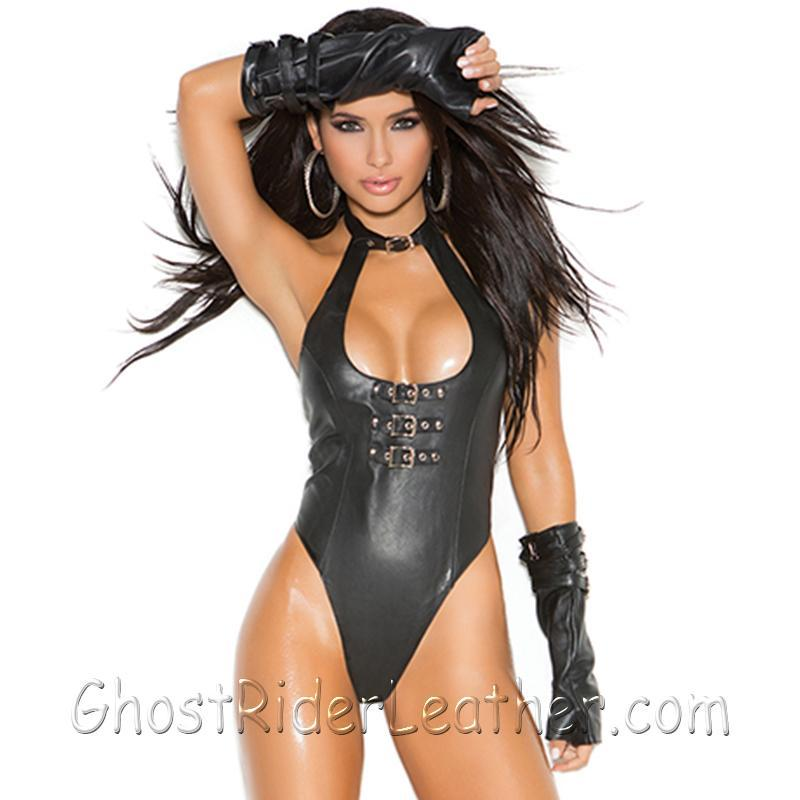 Ladies Leather Teddy With Buckle Front Detail and Thong Back - SKU L2256-EML