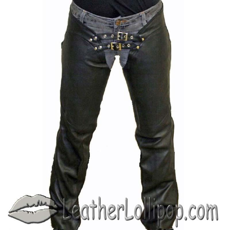 Ladies Low Rise Leather Chaps with Lace Up Back - SKU C1003-11-DL