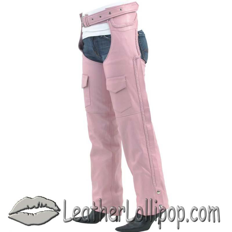 Ladies Pink Leather Motorcycle Chaps With Braid Design - SKU C326-PINK-DL