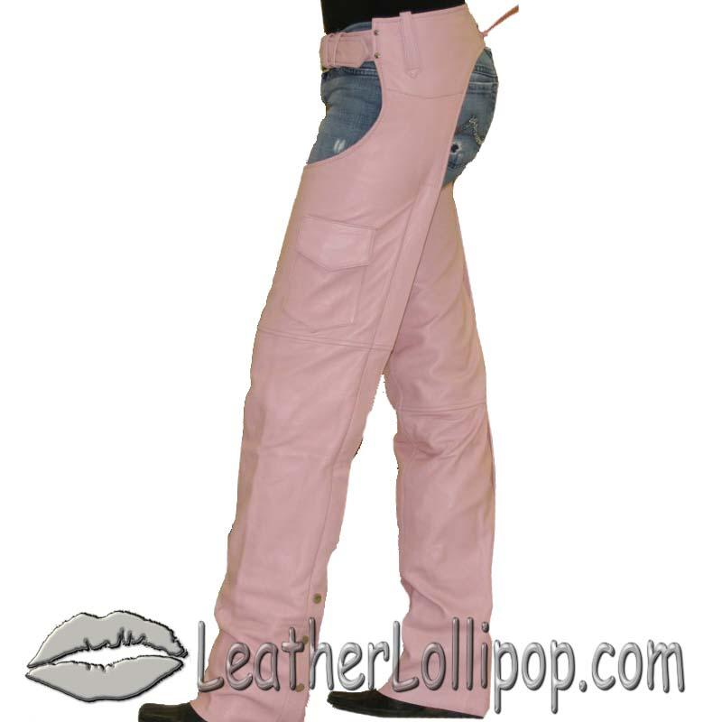 Ladies Pink Leather Motorcycle Chaps With Pocket  - SKU C325-PINK-DL