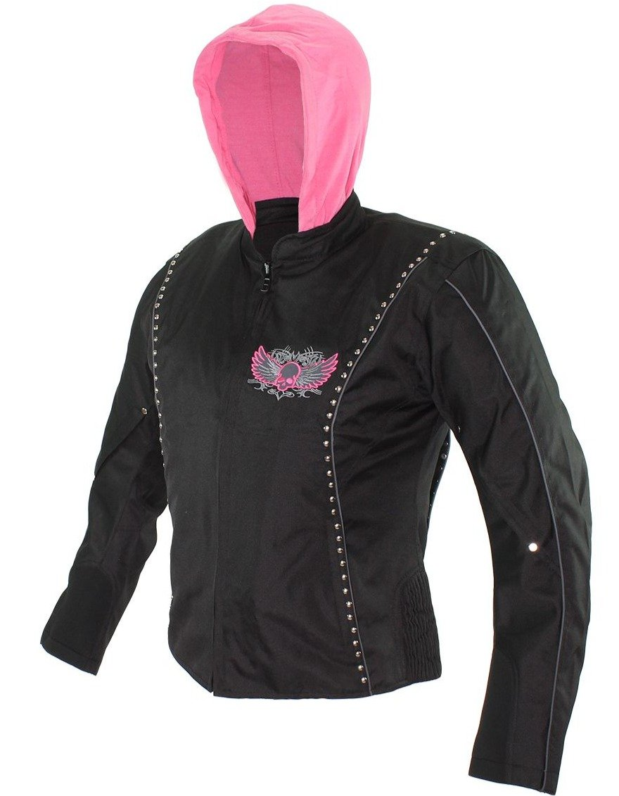 Ladies Textile Jacket In Black and Pink With Hoodie and Skull and Wings - SKU LJ7027-CC-EBL10-PINK-DL
