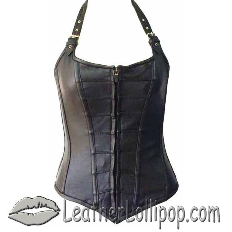 Leather Corset With Zip Front and Removable Halter Straps - SKU VC1316-VL