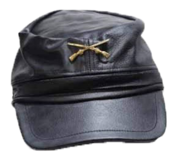 Leather Rebel Cap With Crossed Rifles and Adjustable Back - SKU AC30-DL