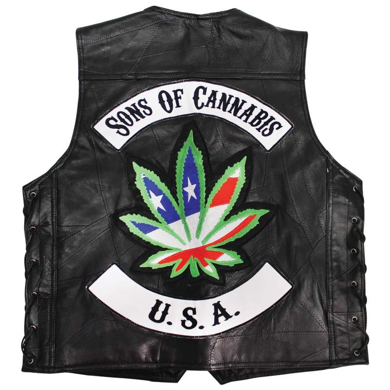 LIMITED QUANTITIES - Be A Rebel Patchwork Buffalo Leather Vest With Sons Of Cannabis Patch - SKU GFVSOC-BN