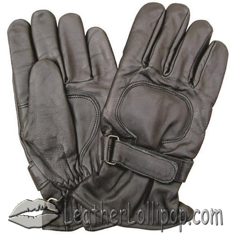 Lined Leather Riding Gloves with Velcro Tab - SKU AL3063-AL