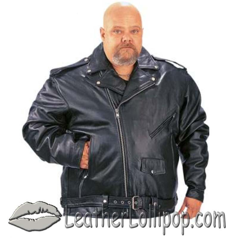 Men's Big Size Classic Style Motorcycle Jacket with Full Belt - SKU 14.00-UN