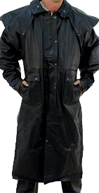 Mens Black Premium Buffalo Leather Duster Coat - SKU AL2600-AL