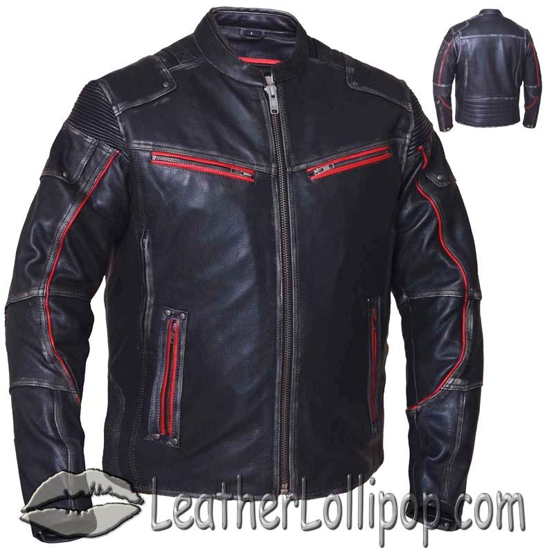 Men's Black With Red Piping Durango Leather Jacket with Concealed Carry Pockets - SKU 6633.01-UN