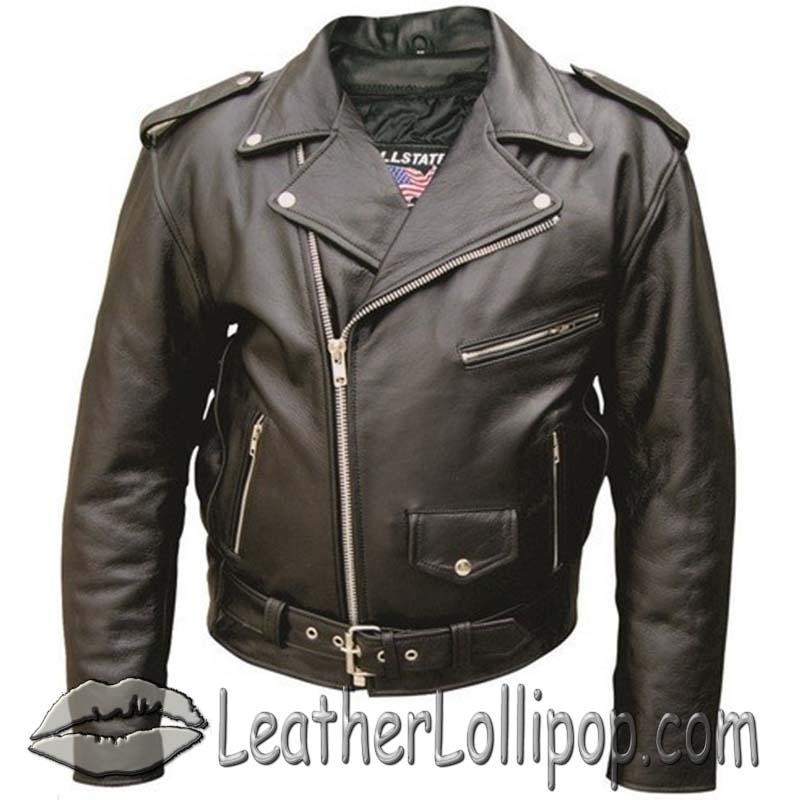 Men's Classic Style Biker Motorcycle Leather Jacket - Sizes 28 - 68 - SKU AL2001-AL
