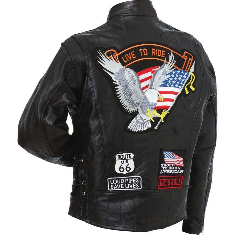 Mens Diamond Plate Patchwork Leather Motorcycle Jacket With Patches - SKU GFCRLTRS-BN
