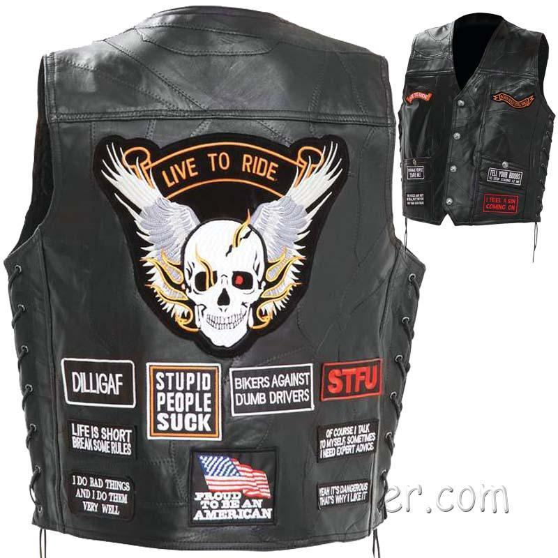 Mens Diamond Plate Patchwork Leather Vest With Concealed Carry - 16 Patches - SKU GFV16-BN