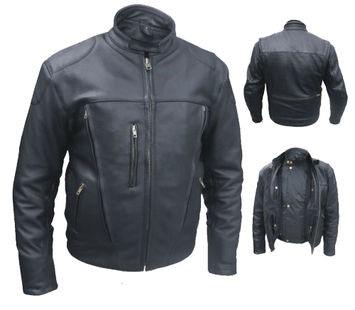 Men's Euro Racer Biker Naked Leather Jacket With Vents - SKU AL2044-AL
