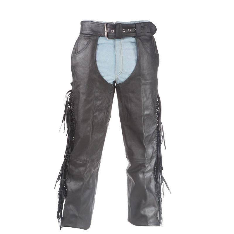Mens Ladies Unisex Naked Leather Chaps with Braid and Fringe - SKU C337-01/11-DL