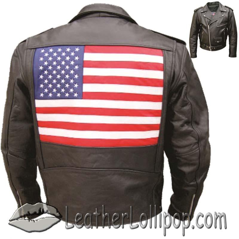 Men's Leather Biker Jacket with American Flag on Back - SKU AL2018-AL