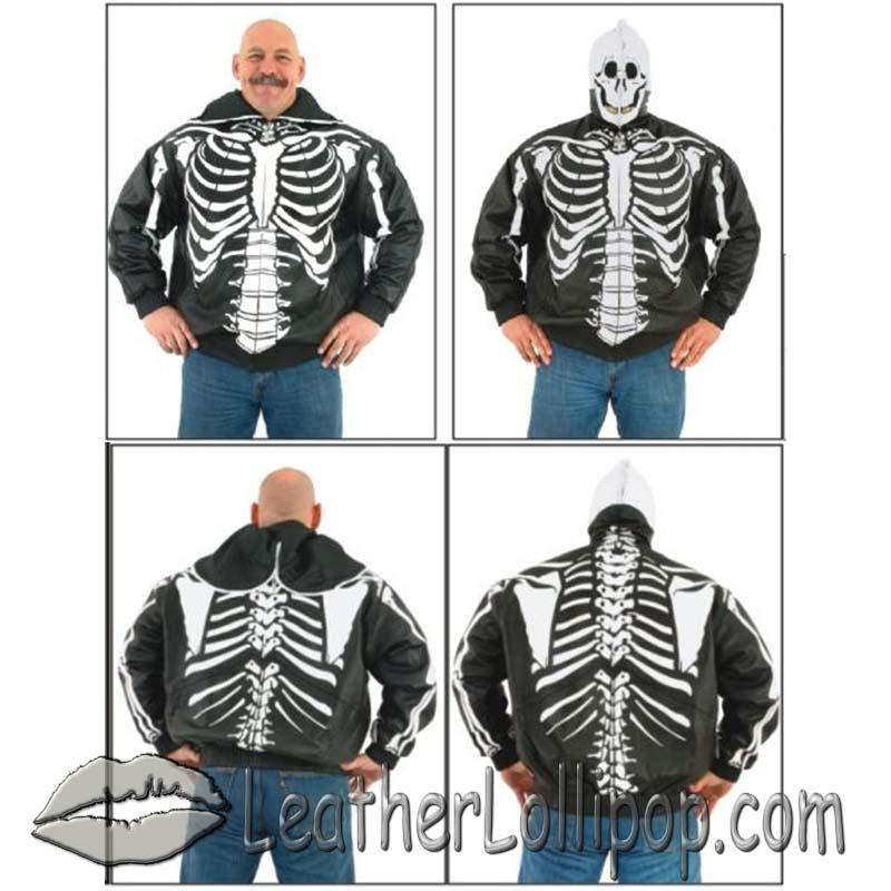 Mens Leather Motorcycle Jacket with Complete Skeleton Design and Hoodie - SKU MJ701-09-DL