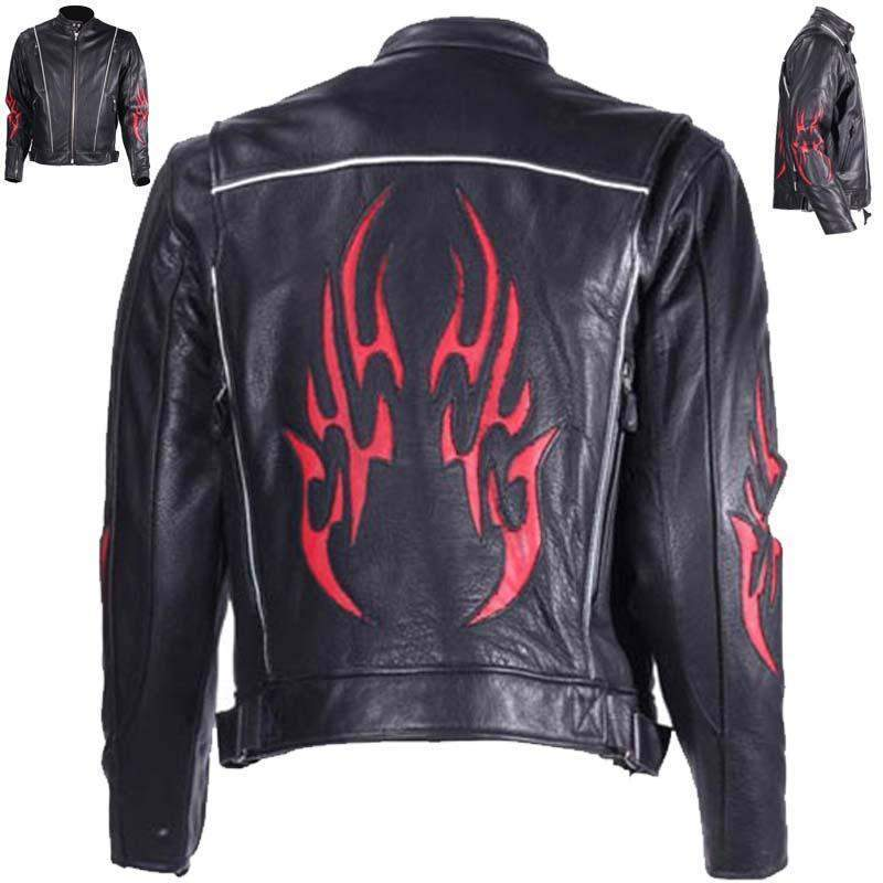 Mens Leather Racer Jacket with Red Flames and Reflective Piping - SKU MJ782-DL