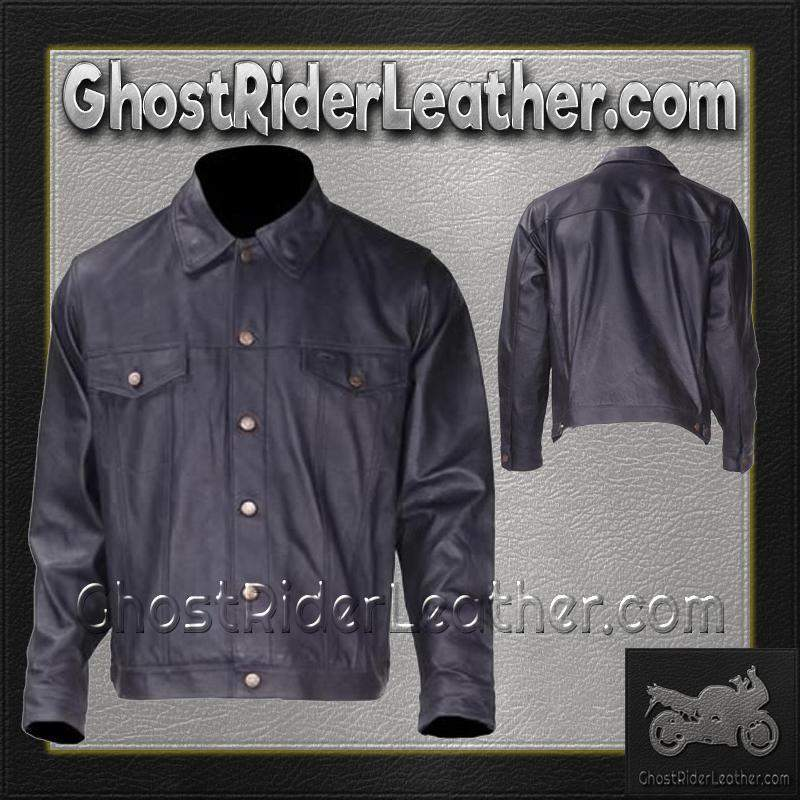 Mens Leather Shirt with Button Closure / SKU MJ778-DL