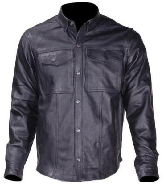 Mens Light Weight Leather Shirt For Summer Motorcycle Riding - SKU MJ777-11L-DL