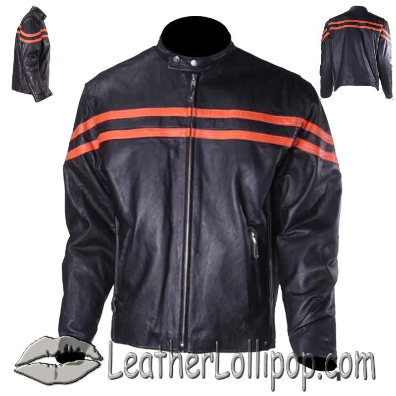 Mens Motorcycle Racer Jacket with Orange Stripe - SKU MJ779-ORG-DL